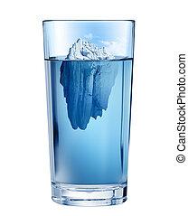 水, 切り抜き, 氷山, concept., 隔離された, 環境, 枯渇, ガラス。, included., 新たに, 道