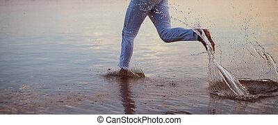 水, 動くこと, 海, 人