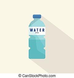 水, 単一, びん, プラスチック