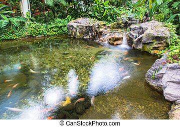 水 噴水, 中に, 庭, ∥あるいは∥, 公園