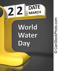 水, 型, カレンダー, 日, 世界