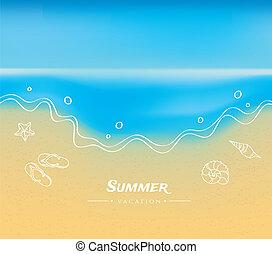 水, 夏, 砂, 背景