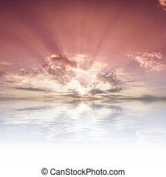 水, 太阳光线, 反映