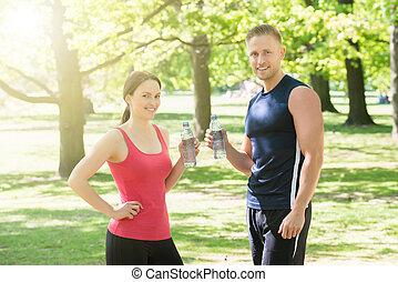 水, 夫妇, 公园, 喝