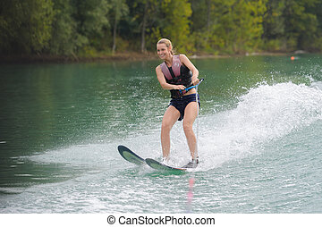 水, 女の子, スキー, 若い, 幸せ
