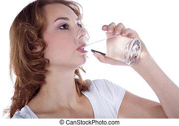 水, 女の子, スポーツ, 飲み物