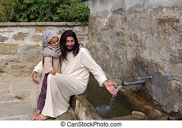 水, 女の子, 井戸, イエス・キリスト
