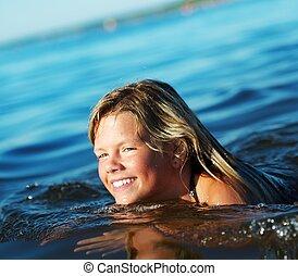 水, 女の子, 幸せ