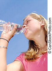 水, 女の子, 飲むこと, 若い