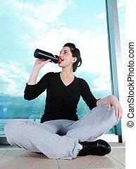 水, 女孩, 在之后, 喝, 健身