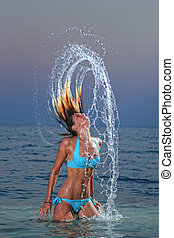 水, 女, はねかけること, トロピカル