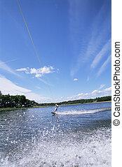 水, 女, 若い, スキー