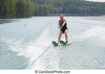 水, 女, 若い, スキー, 湖