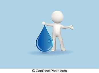 水, 小さい, 低下, 3d, 人々