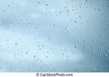 水, 小滴, 窓ガラス, 雨