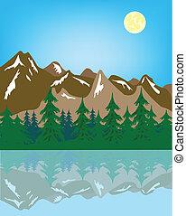水, 山, 彼の, 反射, 風景