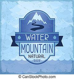 水, 山, 背景, 中に, レトロ, style.