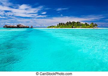 水, 島, 上に, バンガロー, トロピカル