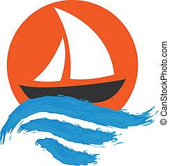 水, 帆走しているボート