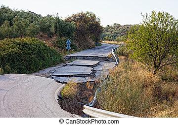 水, 建設, 道, 違反, 失敗, 技術, because, 洗われた, 道, 形作られる, 離れて