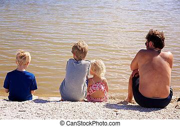 水, 彼の, 家族, モデル, 父, 見る, 浜, 子供