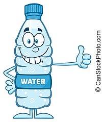 水, 微笑, びん, プラスチック