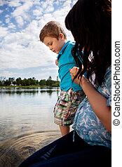 水, 息子, 遊び, 母