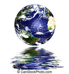 水, 惑星, 上, 反映された, 地球
