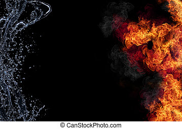 水, 接続, 火, 黒い背景, 隔離された, elements., 代表
