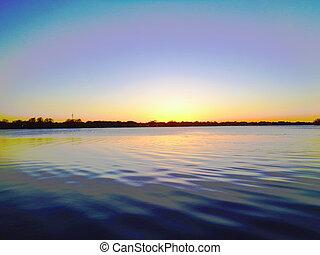 水, 日没, 湖, さざ波