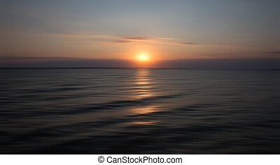 水, 日落, 反映, 海