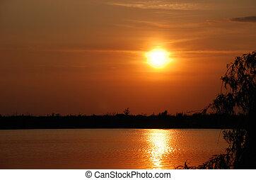水, 日落, 在上面