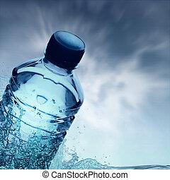 水, 春天, 净化, 瓶子