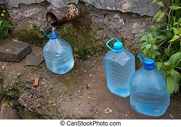 水, 春天, 瓶子