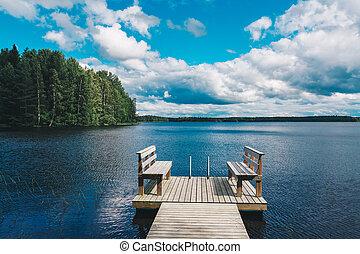 水, 森林, 木, 雲, 木製である, 椅子, ベンチ, スカイブルー, 湖, 2, 緑, 桟橋, 見落とすこと