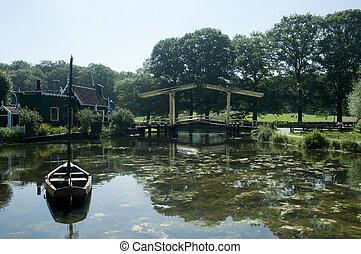 水, 橋, ボート, 風景, オランダ語