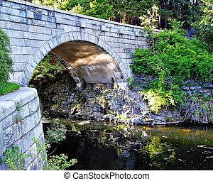 水, 橋, 石造アーチ, 上に