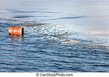 水, 氷った, オイル樽, 浮く