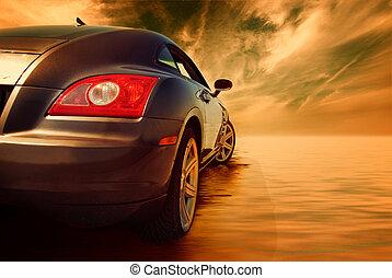 水, 汽車, 運動, 反映