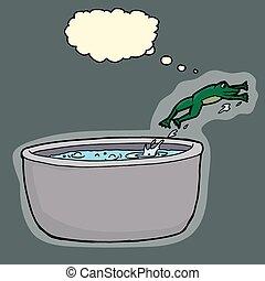 水, 沸騰, 逃げる, カエル