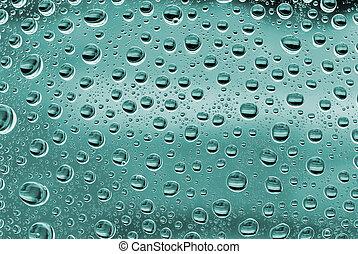 水, 泡, 上に, a, 緑, ガラス。, 抽象的, 背景