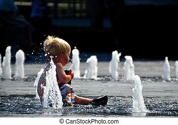 水, 泡, 子供