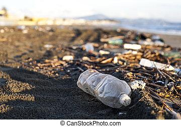 水, 浜, びん, プラスチック