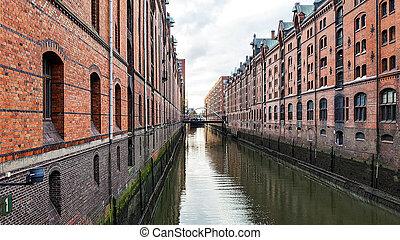 水, 港口, 運河, 城市, 漢堡
