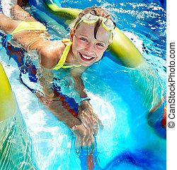 水 滑動, 孩子, aquapark.
