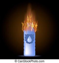 水, 燃焼, 鉱物, びん, プラスチック