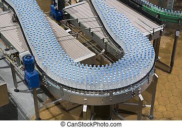 水, 産業, びん, コンベヤー