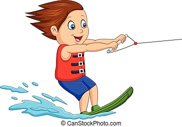 水, 男の子, スキー, 漫画, 遊び