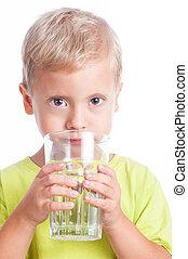 水, 男の子, 飲み物, ガラス