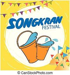 水, 祝祭, イメージ, バケツ, 塔, songkran, 砂, ベクトル, 旗, 背景
